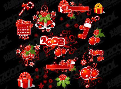 Elementos de decoração de Natal de 2008 e padrões de vetor material