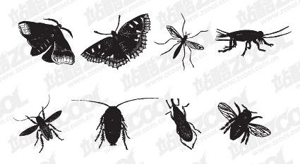 黒と白の昆虫のベクター素材