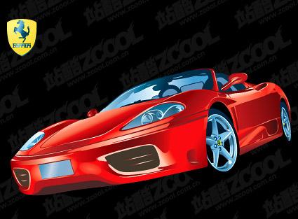 Material de vectores de coche Ferrari F360