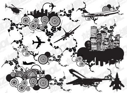 Städte und Lauffläche Kombination der Elemente der Vektor-material