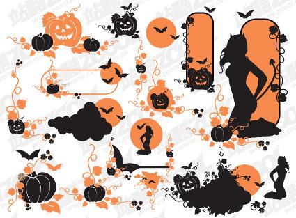 Material de patrón de vectores de Halloween theme