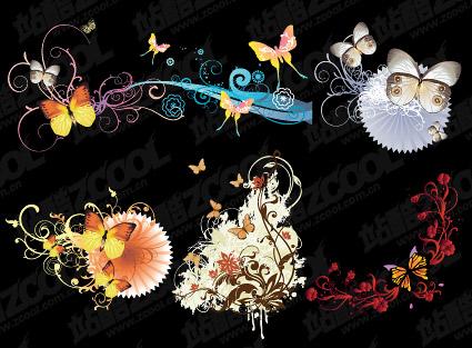 Matériau de vecteur de motif papillon et de la mode