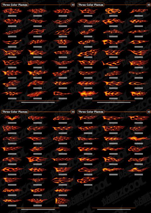 material de vetor de elemento de chama 100 da tendência de cor