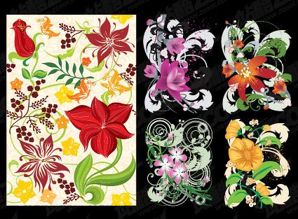 Ручная роспись цветочный узор вектор материал