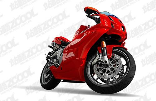 AI motocicleta rojo vivo dibujo vectorial material
