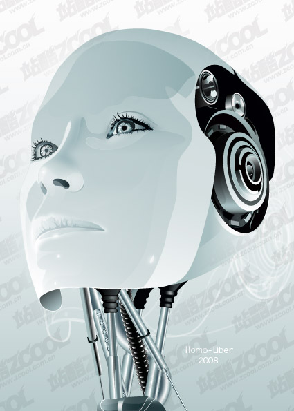 Robot femenino material de vectores