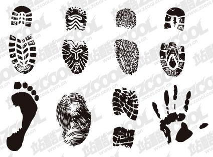Huellas dactilares y palm vector de material