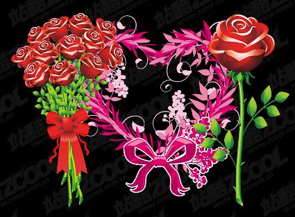 Roses et matériel de vecteur de motif en forme de cœur