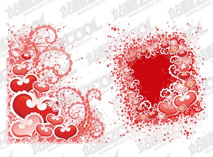 En forme de cœur, parsèment les patrons et de matériel de vecteurs