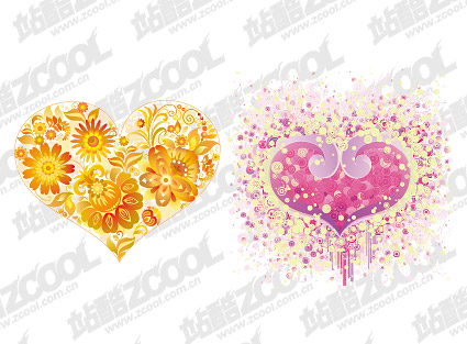 Heart-shaped flower vector material