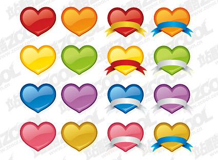 material de vectores de icono con forma de corazón de estilo Web 2.0