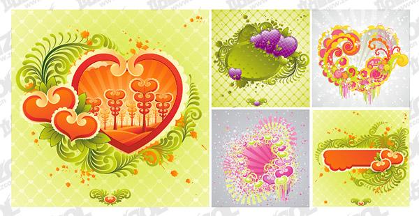5 องค์ประกอบของรูปหัวใจ TrendUK vector วัสดุ