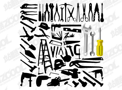 Variedade de material vetor de ferramentas em fotos