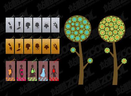 น่ารักต้นไม้และแฟชั่นสาว vector วัสดุ