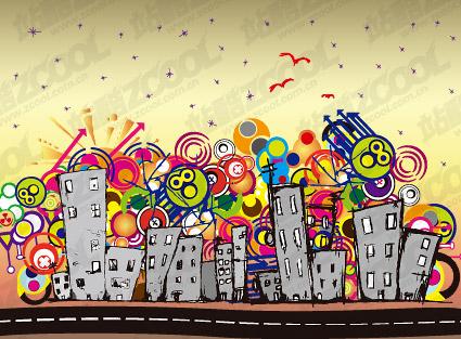 Material de ilustraciones vectoriales de ciudad encantadora