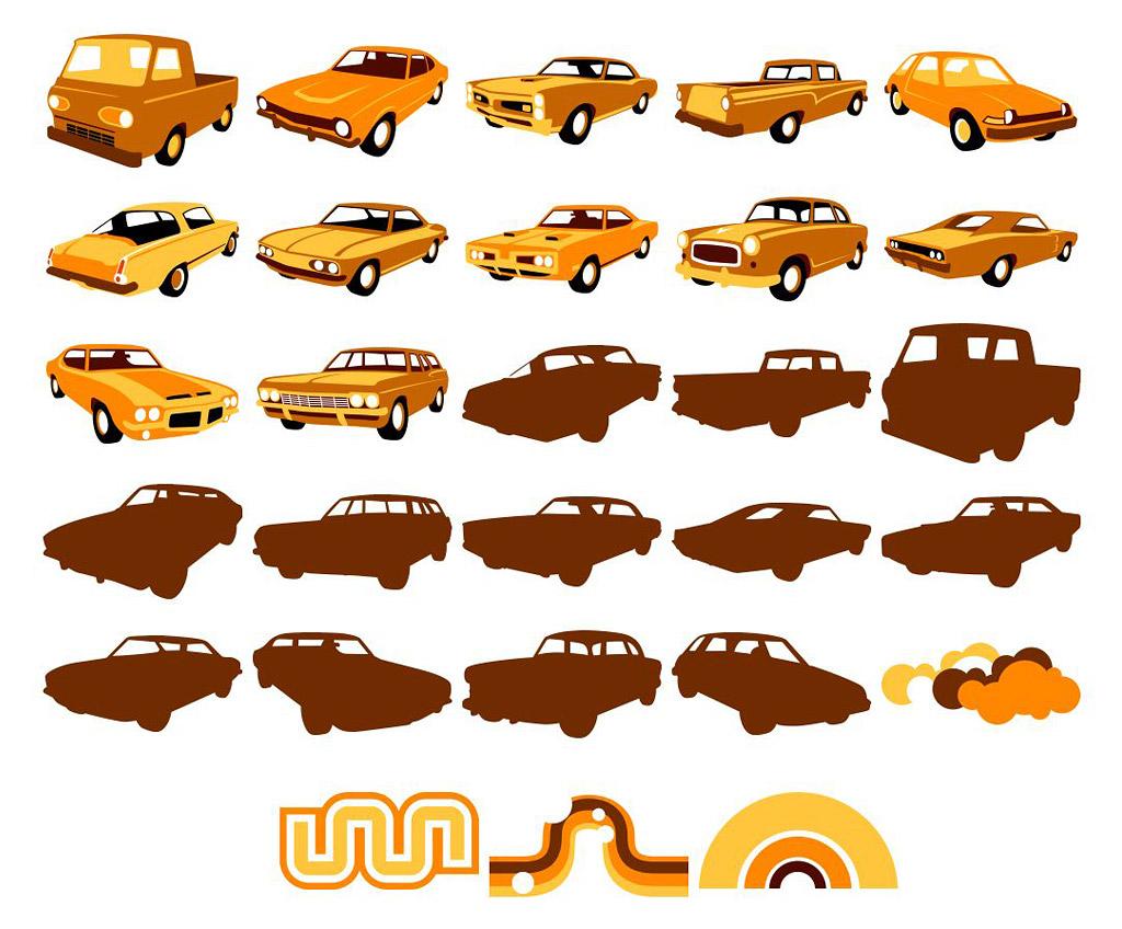 Vektor materiell Elemente von klassischen Autos