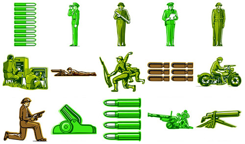 Personal militar extranjero tema vector de material
