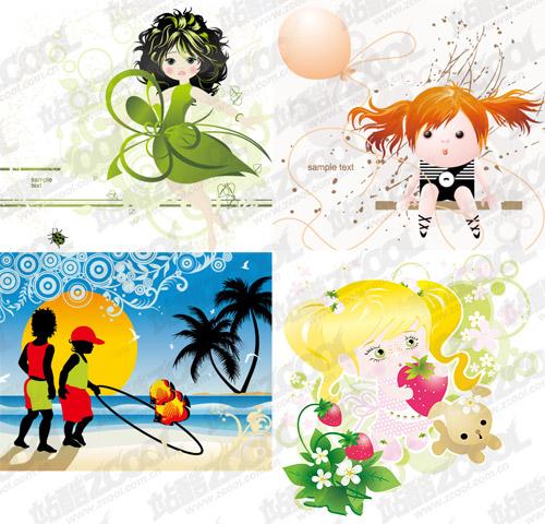 Vektor materiell schöne Illustrationen von Kindern 4