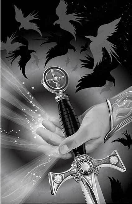 Illustrations en noir et blanc de style CG vecteur matériel
