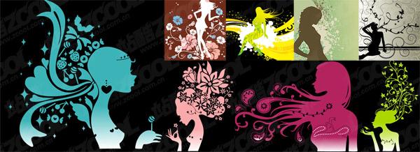 แฟชั่นลวดลายตัวเมีย silhouettes vector วัสดุ