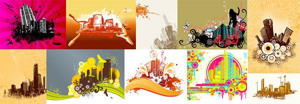 10 тенденций городского строительства материала темы векторные иллюстрации