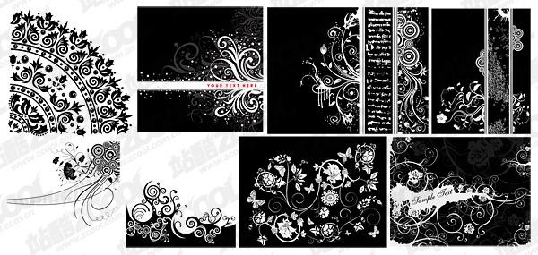 8 ลวดลายสีดำและสีขาวเวกเตอร์วัสดุ
