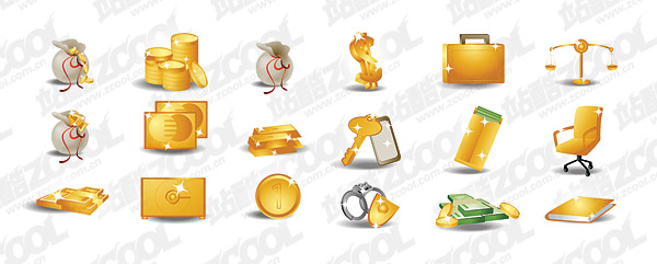 Dinero tema oro icono material de vectores