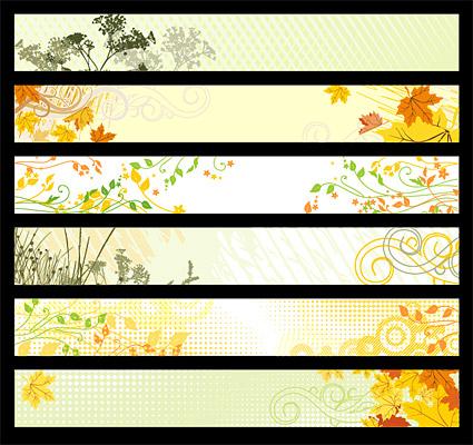 植物素材のベクトルのロゴ バナーの 6