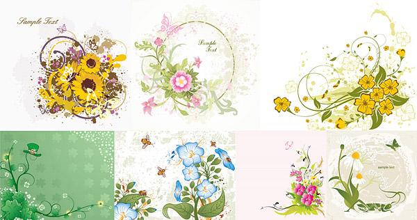 7, vecteur de fleurs divers matériel