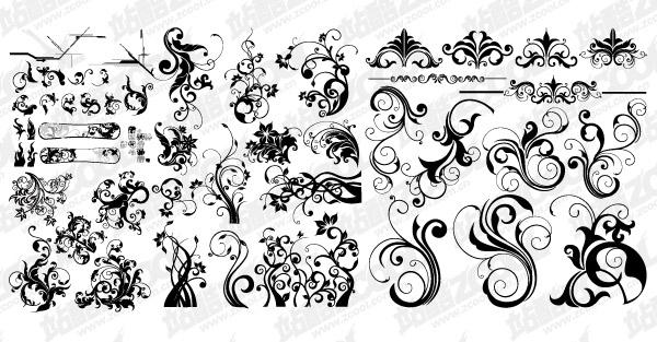 モノクロのパターン ベクトル材料ファッションの数