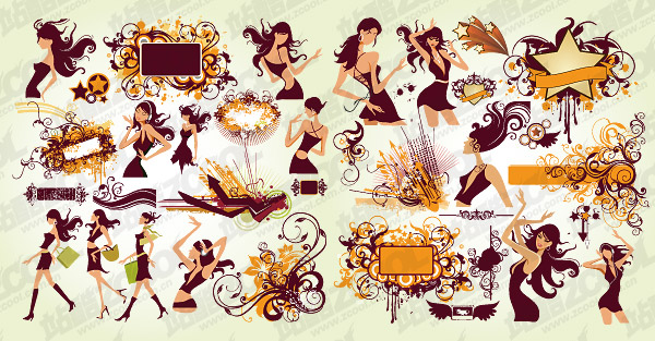 Tendencia de la moda de las mujeres y el vector de elemento material