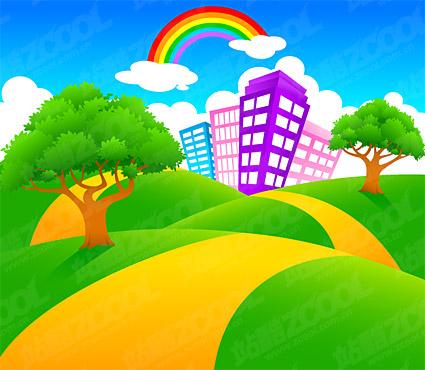 Material de paisaje de dibujos animados de vectores