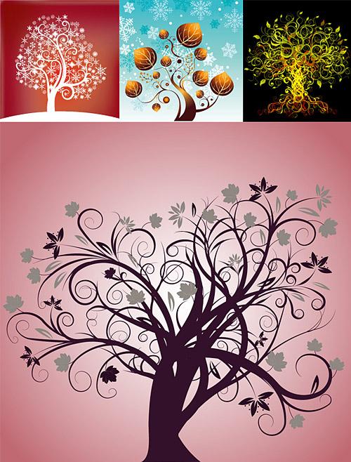 4, Tema de vector del material de árbol