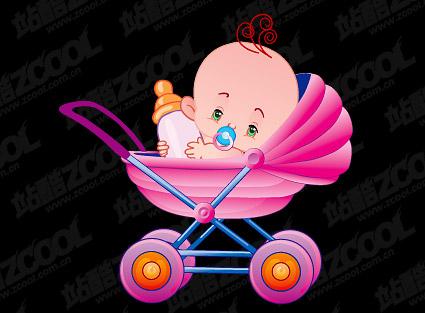 かわいい赤ちゃんベクトル材料-3
