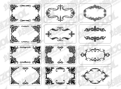 12 tarjetas con elementos de encajes exquisitos de material