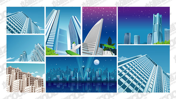 9, vector de material de construcción de ciudad