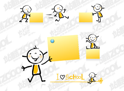 เด็กที่น่ารักและกระดาษบันทึกย่อวัสดุ