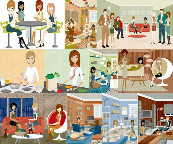 現代の男性と女性のイラスト シリーズ 3