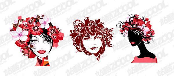 ファッション女性の花頭のベクター素材