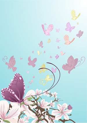 Papillons et fleurs pourpres