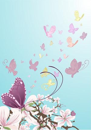 Borboletas e flores roxas