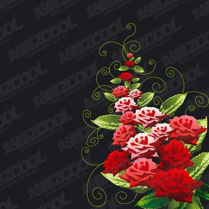 Matériel de vecteurs de motifs décoratifs roses