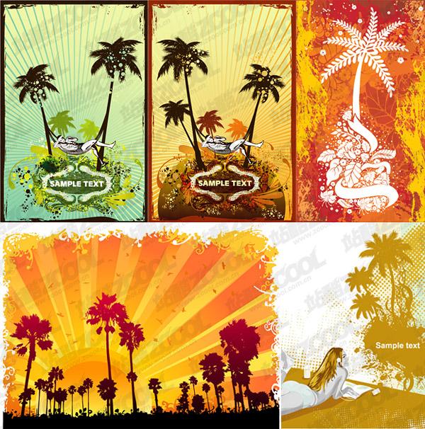 Coco árboles material de ilustraciones vectoriales de tema