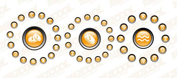 Cristal circular icono material de vectores