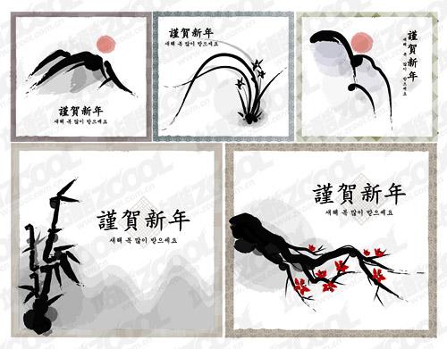 고전 중국어 잉크 그림 스타일 벡터 자료-1