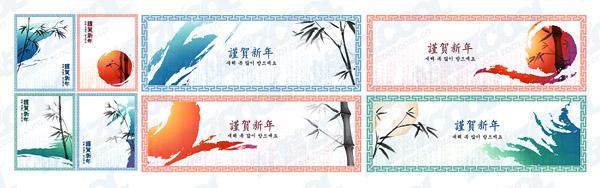 古典的な中国語のインクの絵のスタイル ベクトル材料 3