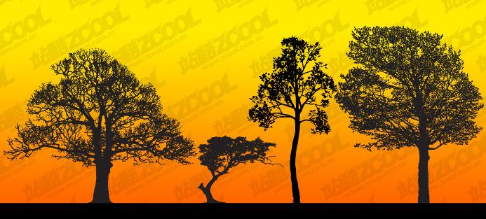 ทรี silhouettes vector วัสดุ