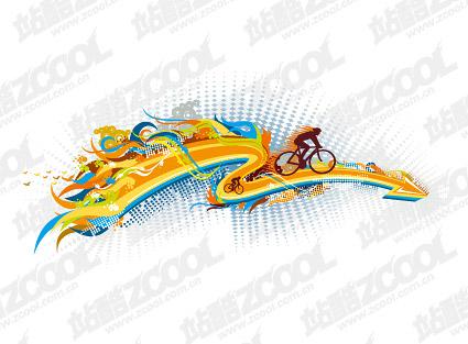 La tendance du cyclisme de matériau de vecteur élément