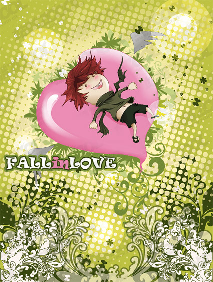 personnage de dessin animé en forme d'amour avec le patron