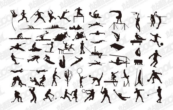 すべての種類のスポーツ アクション シルエット素材-1 ベクトルします。